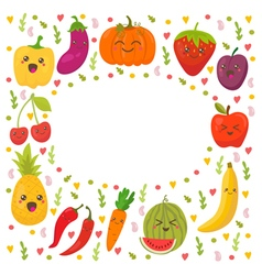 Fresh happy fruits and vegetables Frame for your vector image