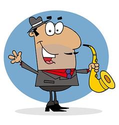 Hispanic Saxophone Player Man vector image