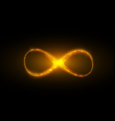 infinity symbol background light yellow gold neon vector image vector image