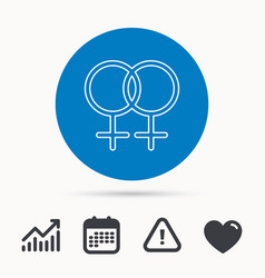 Lesbian love icon homosexual sign vector