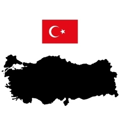 Map of Turkey and the official flag vector image