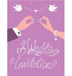 wedding invitation - groom and bride hands vector image