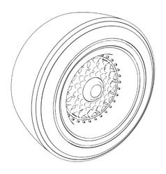 Automotive wheel isolated on white vector image