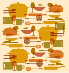 background of kitchenware set vector image vector image