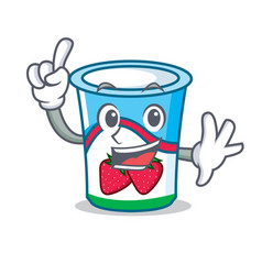 finger yogurt mascot cartoon style vector image vector image