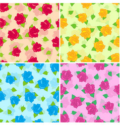 rose with green leaves seamless pattern set vector image
