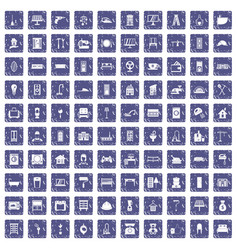 100 comfortable house icons set grunge sapphire vector image