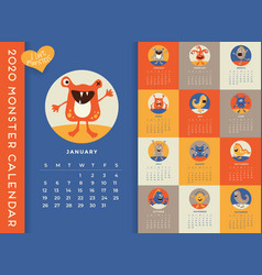 2020 monthly calendar with cute monsters vector image