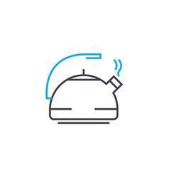 aluminum kettle linear icon concept aluminum vector image