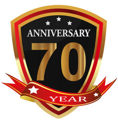 Anniversary 70 th label with ribbon vector