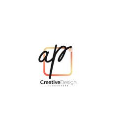 Ap initial letter handwriting logo art hand drawn vector