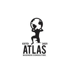 Atlas lifting globe logo design template vector