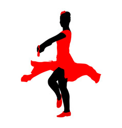 Attractive spanish girl flamenco dancer silhouette vector