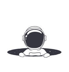 Baby astronaut in hole vector
