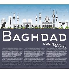 Baghdad Skyline with Gray Buildings Blue Sky vector