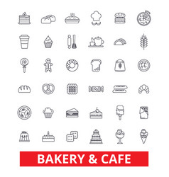 Bakery cake pastry cookies cafe pie vector