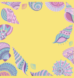 banner template with seashells vector image