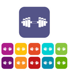 Barbell icons set vector