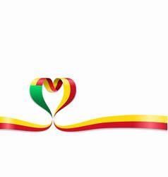 Benin flag heart-shaped ribbon vector