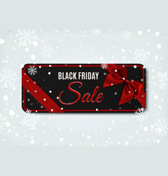 black friday sale banner with red ribbon and bow vector image