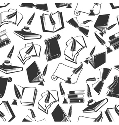 Books and ink quill seamless pattern vector