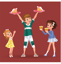 boy holds plate in hands treat girls children vector image
