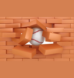 brick wall destroying with baseball ball sports vector image