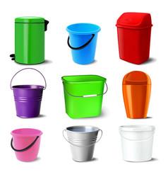 bucket set bucketful different types vector image