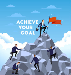 Business people climb the mountain achievement vector