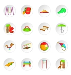 Children playground icons set cartoon style vector
