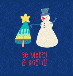 christmas card snowman and xmas tree tee print vector image