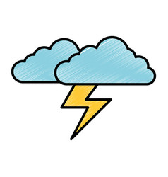 Cloud sky with electric storm ray vector