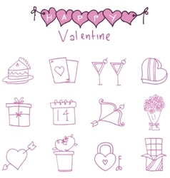 Collection valentine day of icons vector