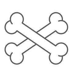 cross bone thin line icon halloween and danger vector image