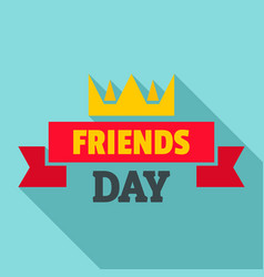 Crown friends day logo flat style vector