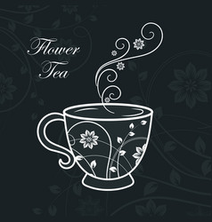cup with floral design elements vector image