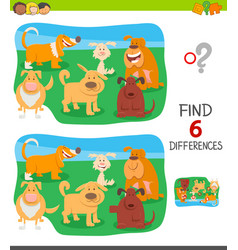 Differences game with funny cartoon dogs vector