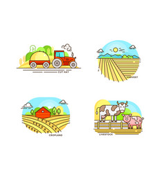 Farming logo collection in line design farm vector