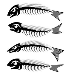 fish bone skeleton set symbol sea fishes icons vector image