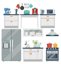 Flat kitchen with cooking tools equipment vector image