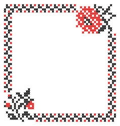 Frame with flowers and border vector image