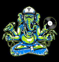 ganesha with musical attributes vector image