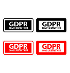 Gdpr compliant with eu - rubber stamp vector