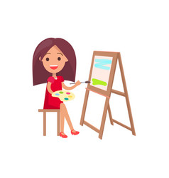Girl working on painting isolated vector
