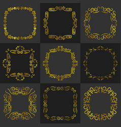 Golden vintage frame decoration set vector