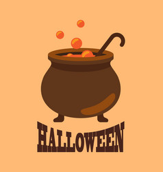 Halloween poster with closeup witch cauldron vector
