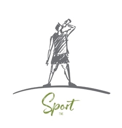 Hand drawn man drinking water after sport vector image