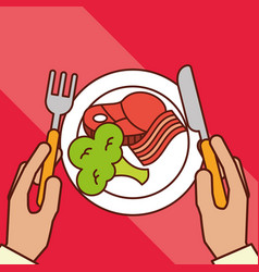 Hands holds fork knife bacon meat broccoli dinner vector