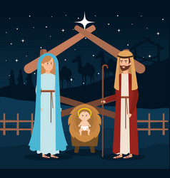 holy family manger characters vector image