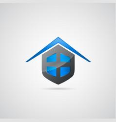 home shield symbol logo vector image